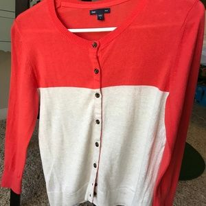 GAP Sweaters - Coral and Cream 3/4 Sleeve Cardigan